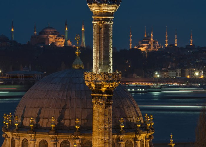 Mosque Greeting Card featuring the photograph Mosques In Istanbul by Ayhan Altun