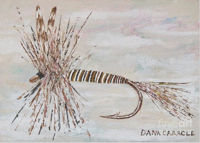 Fishing Greeting Card featuring the painting Mosquito Dry Fly by Dana Carroll