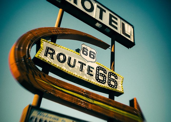 Route 66 Motel Sign Greeting Cards