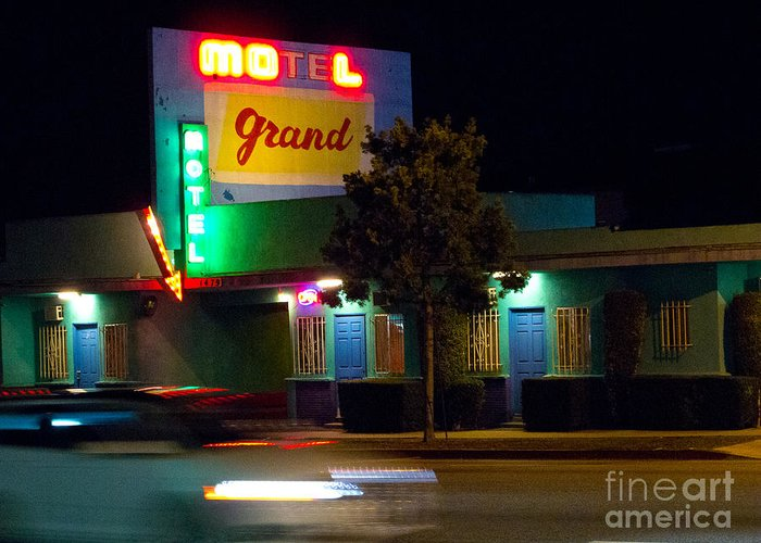 City Greeting Card featuring the photograph Motel Grand by Amy Bynum