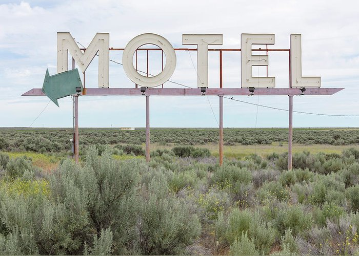 Grass Greeting Card featuring the photograph Motel Sign In Field Of Sage Brush, Out by Mint Images