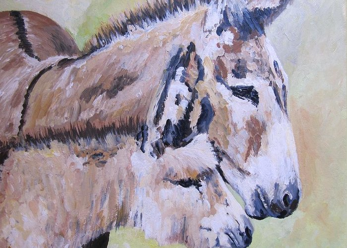 Donkey Greeting Card featuring the painting Mother And Baby by Leonie Bell