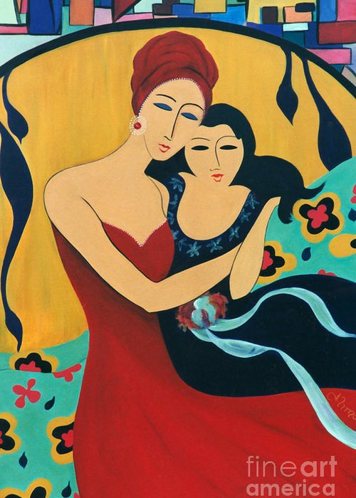#motherandchild Greeting Card featuring the painting Mother And Child by Jacquelinemari