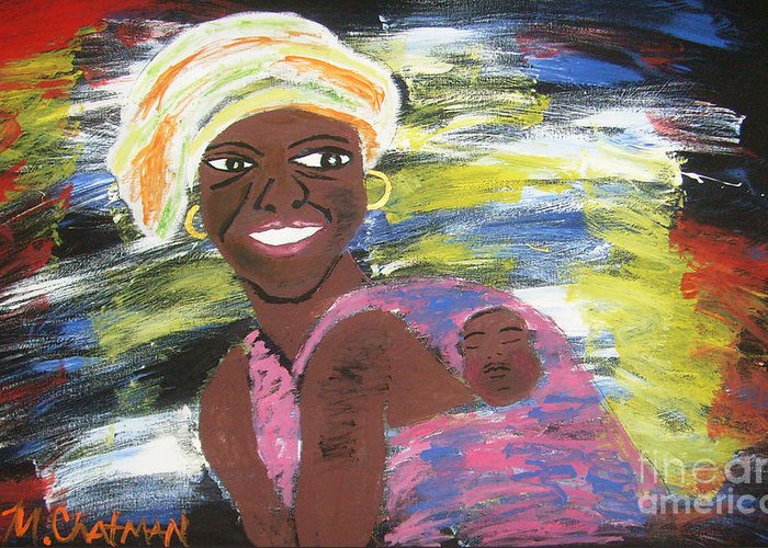 Mother And Child Greeting Card featuring the painting Mother And Child by Michael Chatman