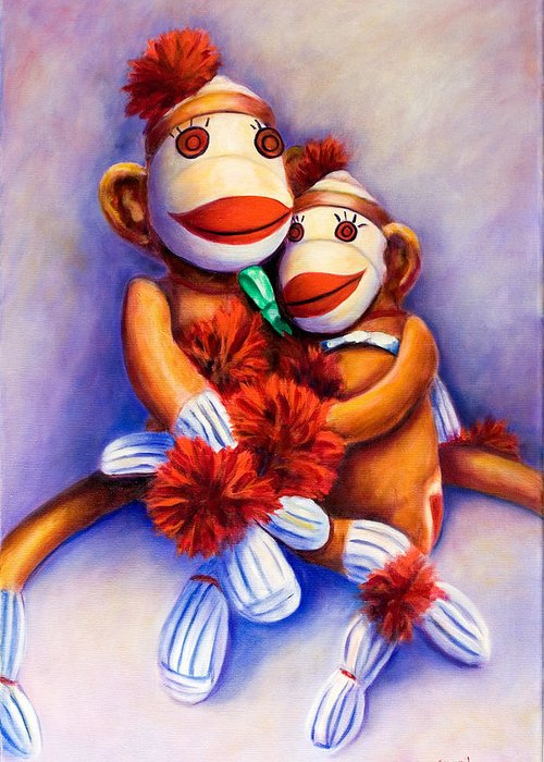 Children Greeting Card featuring the painting Mother And Child by Shannon Grissom