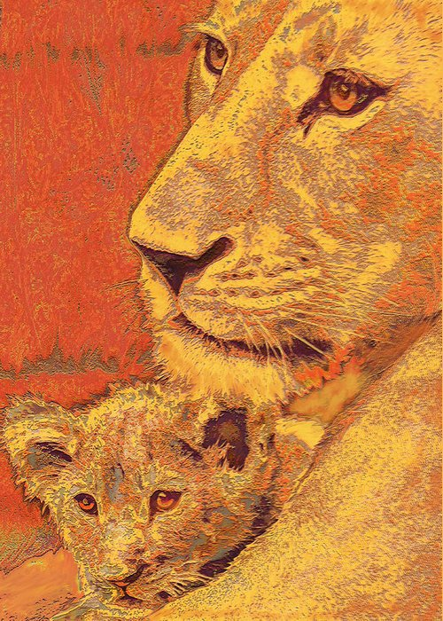 Lion Greeting Card featuring the digital art Mother And Cub by Jane Schnetlage
