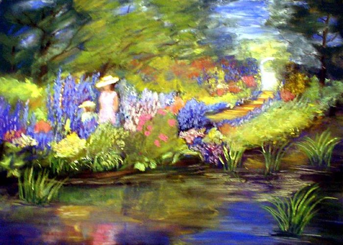 Flower Garden Greeting Card featuring the painting Mother And Daughter by Gail Kirtz