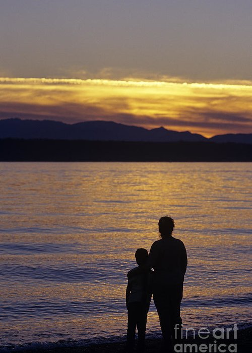 Travel Greeting Card featuring the photograph Mother And Daughter Holding Each Other Along Edmonds Beach At Su by Jim Corwin