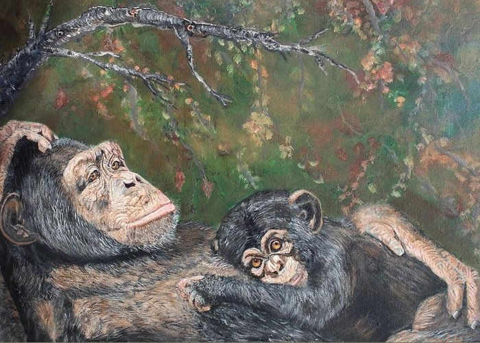 Chimpanzees Greeting Card featuring the painting Mother Enjoying Baby by Cecile Fortier