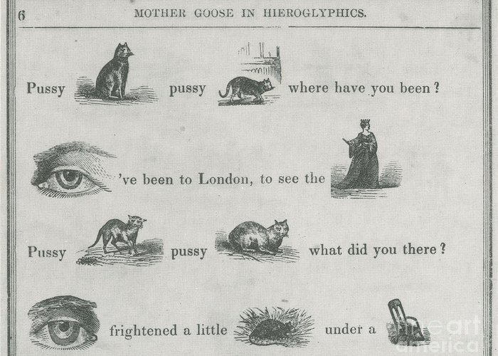 Education Greeting Card featuring the photograph Mother Goose In Hieroglyphics, 1855 by Photo Researchers