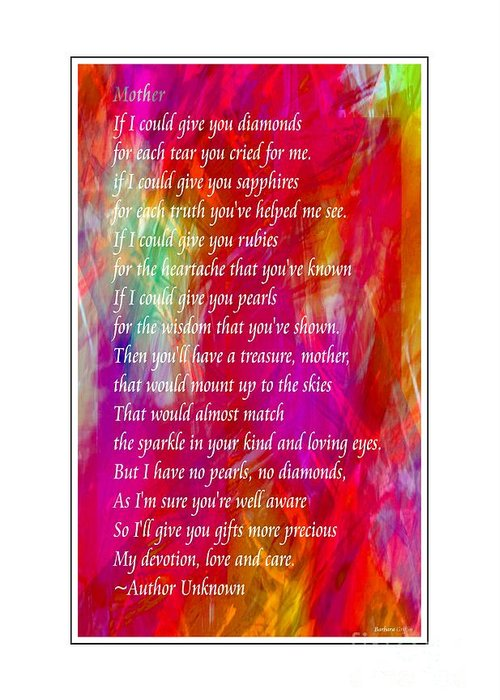 Mother If I Could Give You Greeting Card featuring the digital art Mother If I Could Give You 2 by Barbara Griffin