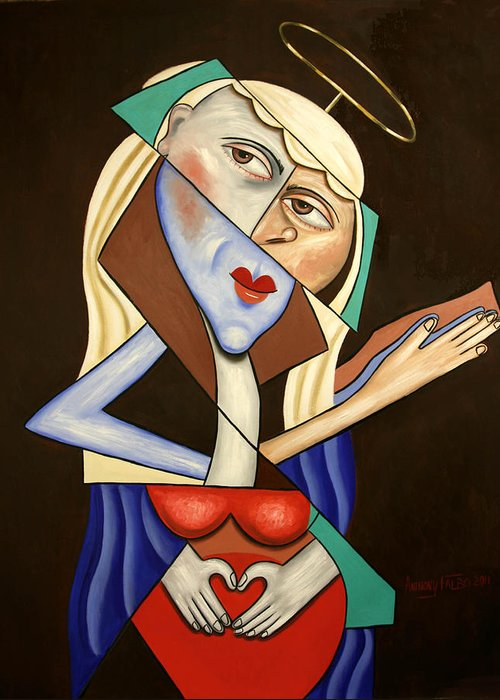 Mother Mary Greeting Card featuring the painting Mother Mary by Anthony Falbo