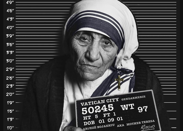 Black And White Mother Teresa Greeting Cards