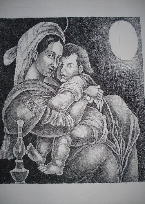 Mother Greeting Card featuring the painting Mother With Her Baby by Prasenjit Dhar
