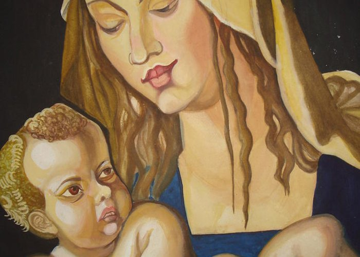 Mother Greeting Card featuring the painting Mother With Her Child by Prasenjit Dhar