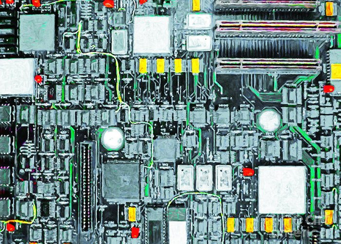 Circuit Board Greeting Card featuring the photograph Motherboard Abstract 20130716 by Wingsdomain Art and Photography
