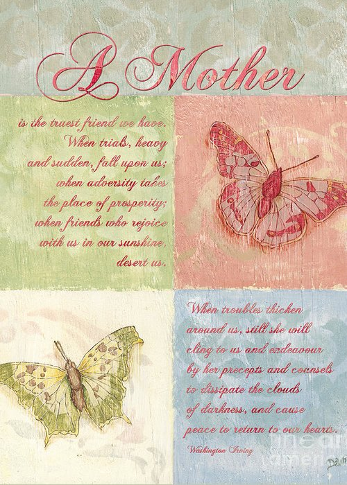 Butterfly Greeting Card featuring the painting Mother's Day Butterfly Card by Debbie DeWitt