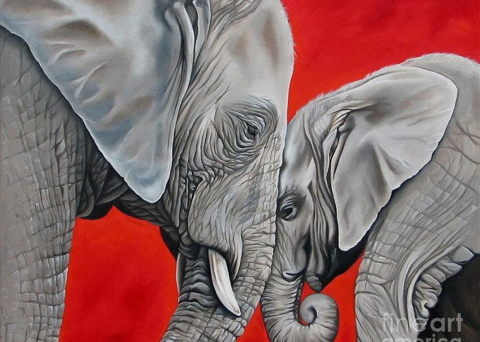Elephant Greeting Card featuring the painting Mothers Love by Ilse Kleyn