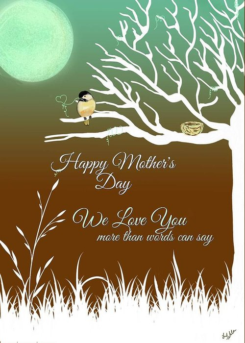 Brown Greeting Card featuring the digital art Mother's Nest by Linda Fehlen
