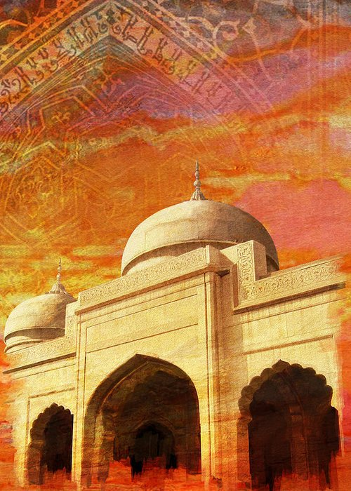 Pakistan Greeting Card featuring the painting Moti Masjid by Catf
