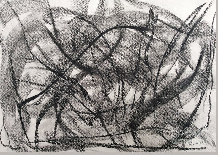 Abstract Greeting Card featuring the drawing Motion by Arthur Right