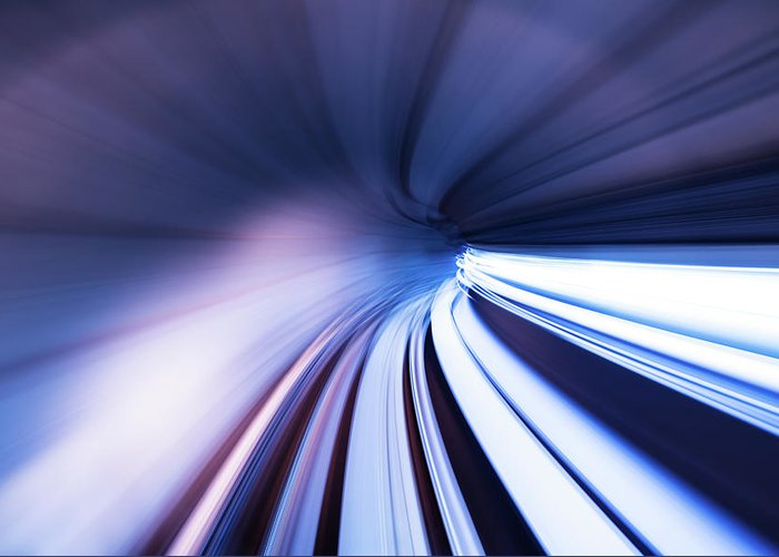 Curve Greeting Card featuring the photograph Motion Tunnel by Loveguli