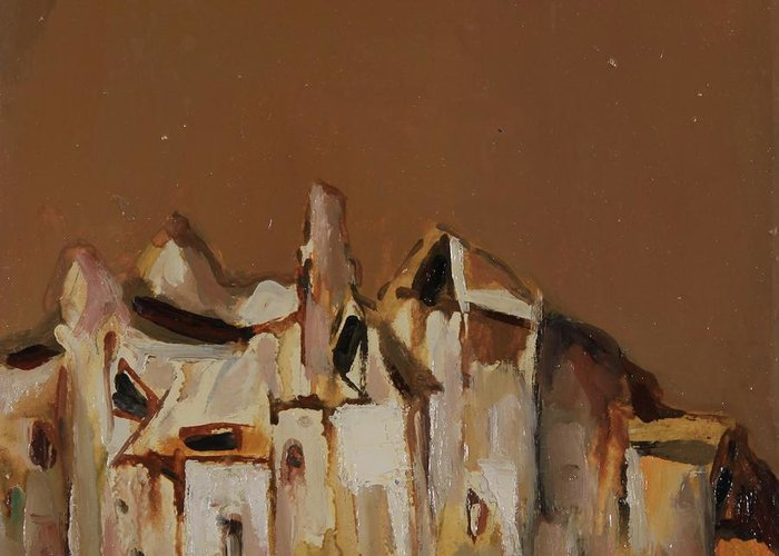 Abstract Greeting Card featuring the painting Motives From Belogradchik by Stefan Shikerov