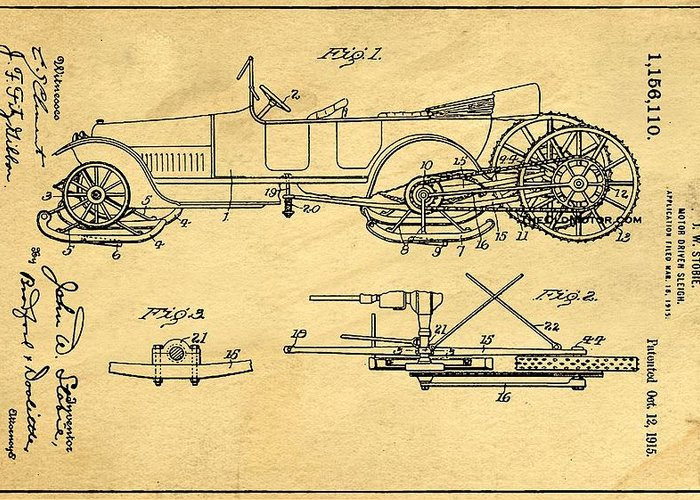 Retro Revival Greeting Card featuring the photograph Motor Driven Sleigh Support Patent Drawing From 1915 1 by Samir Hanusa