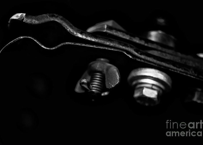 Classic Greeting Card featuring the photograph Motorcycle Seat Clamps by Wilma Birdwell