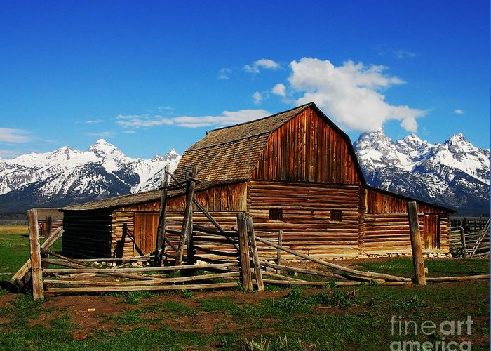 Moutons Barn Greeting Card featuring the photograph Moultons Barn 1 by Mel Steinhauer