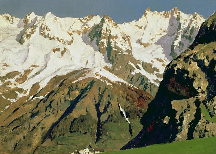 Snow Capped Greeting Card featuring the painting Mount Blanc Mountains by Isaak Ilyich Levitan