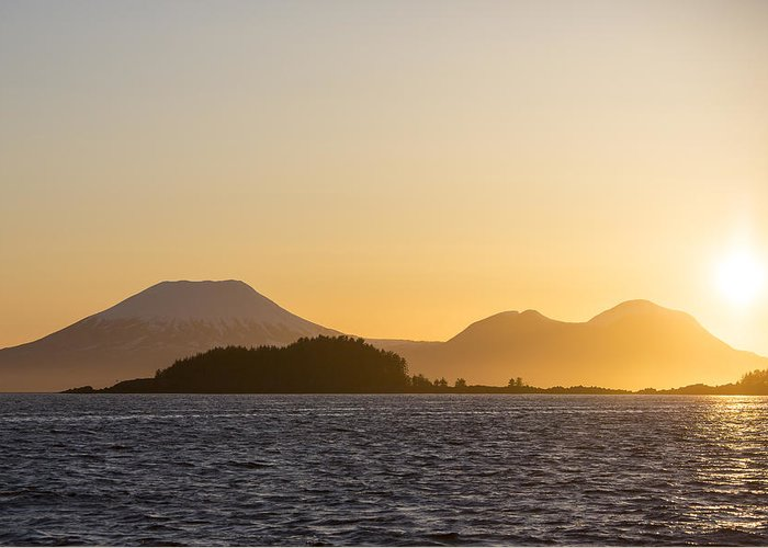 Alaska Greeting Card featuring the photograph Mount Edgecome Sunset by Tim Grams
