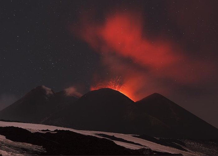 Environment Greeting Card featuring the photograph Mount Etna Erupting At Night, 2012 by Science Photo Library