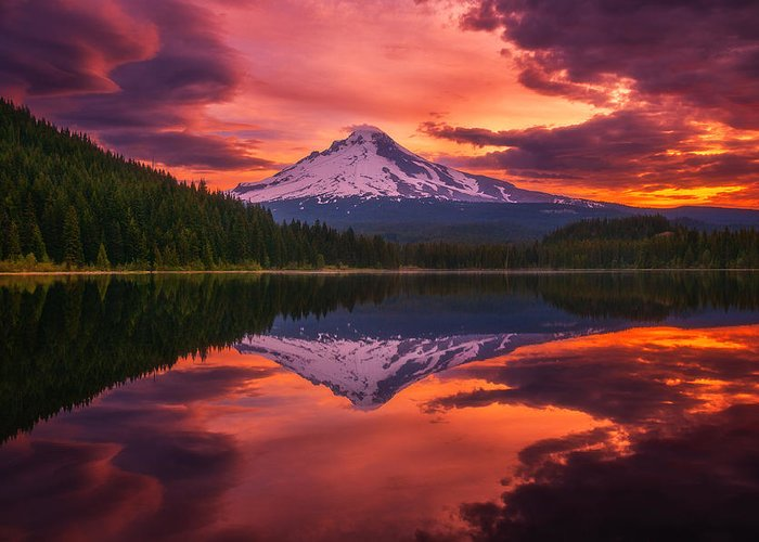 Lake Greeting Card featuring the photograph Mount Hood Sunrise by Darren White