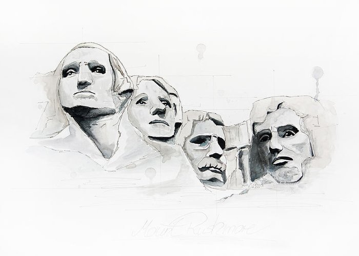 South Dakota Greeting Card featuring the painting Mount Rushmore by Astrid Rieger