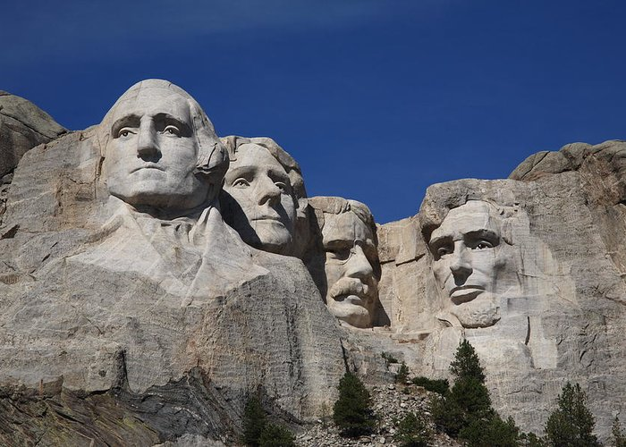 Abe Greeting Card featuring the photograph Mount Rushmore by Frank Romeo