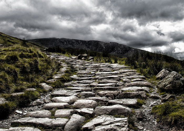 Path Greeting Card featuring the photograph Mount Snowdon Path by Jane Rix