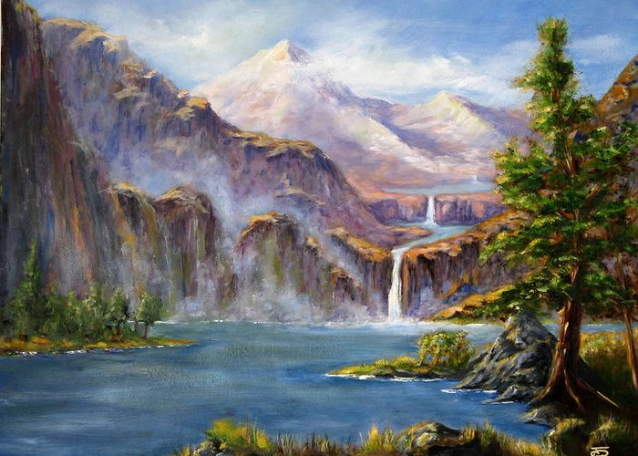 Landscapes Greeting Card featuring the painting Mountain Falls by Thomas Restifo