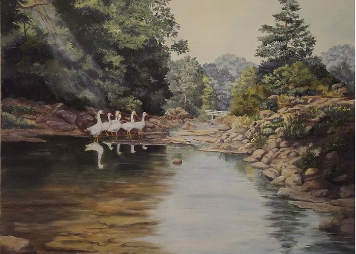Landscape Greeting Card featuring the painting Mountain Home Creek by Wanda Dansereau