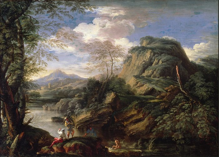 Mountain Greeting Card featuring the painting Mountain Landscape With Figures by Salvator Rosa
