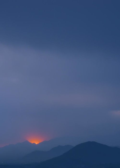 Landscape Greeting Card featuring the photograph Mountain Mist At Sunrise by Chuck Eggen