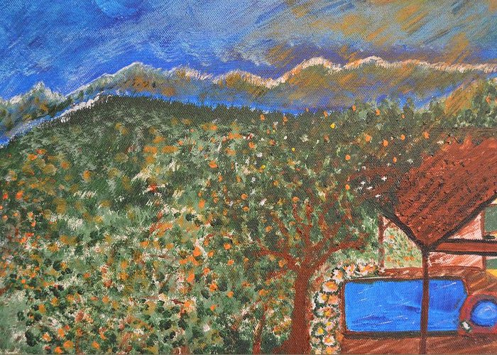 Mountain Greeting Card featuring the painting Mountain Pool by Melissa Conaway