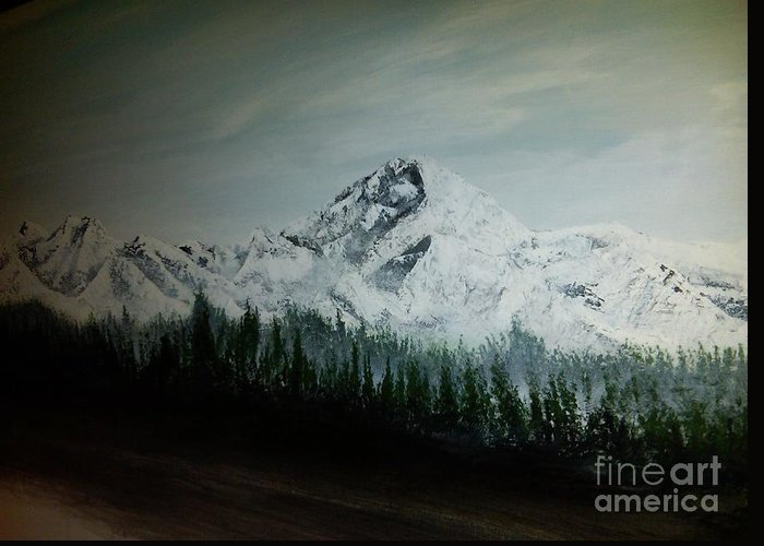 Mountain Range With Evergreens Greeting Card featuring the painting Mountain Range by Pheonix Creations