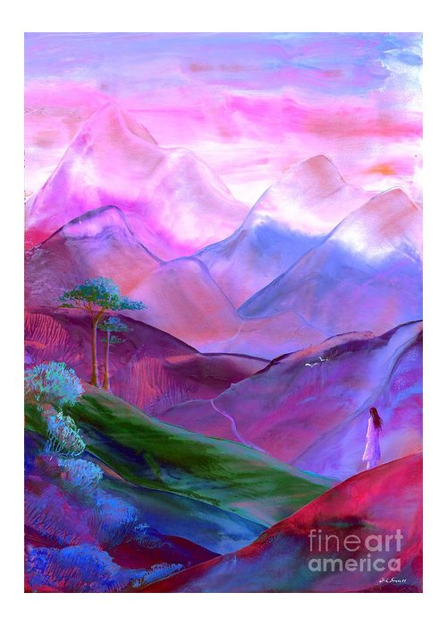 Meditation Greeting Card featuring the painting Mountain Reverence by Jane Small