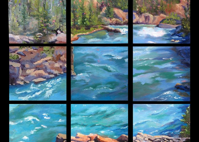 Water Landscape Greeting Card featuring the painting Mountain River by Vicki Brevell