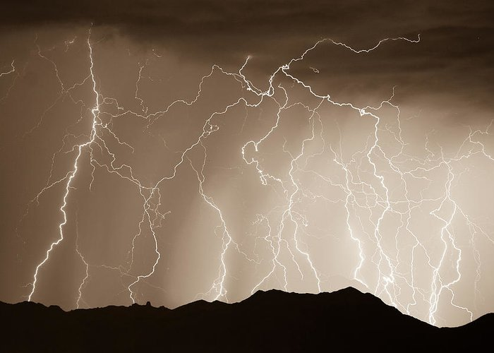 Lightning Greeting Card featuring the photograph Mountain Storm - Sepia Print by James BO Insogna