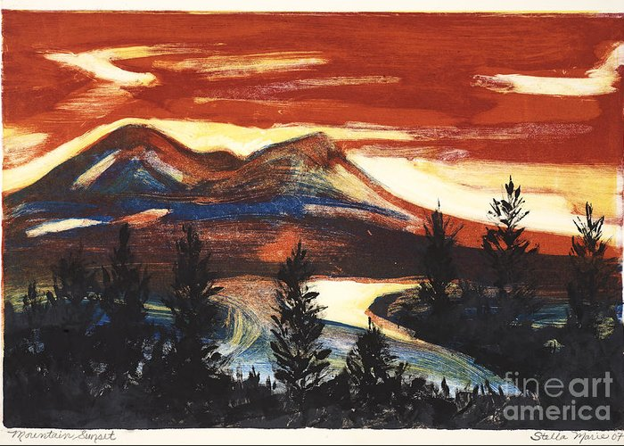 Christmas Cards Greeting Card featuring the painting Mountain Sunset by Stella Sherman
