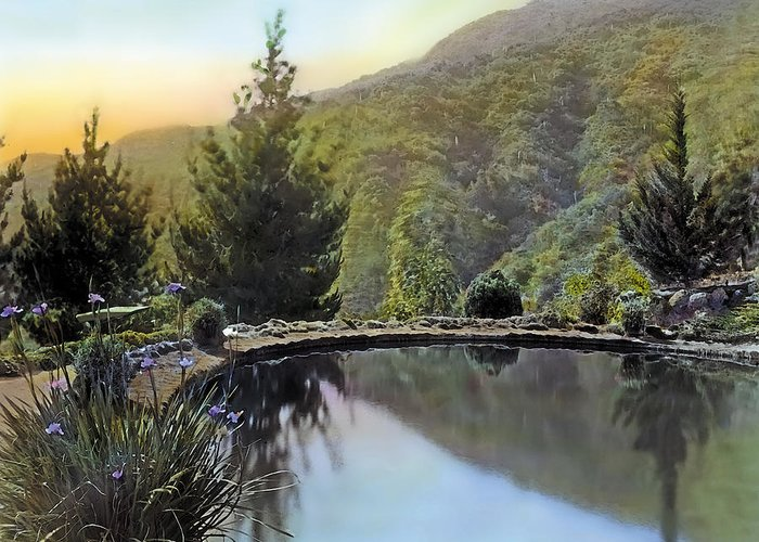 Tranquil Greeting Card featuring the painting Mountain Sunset by Terry Reynoldson