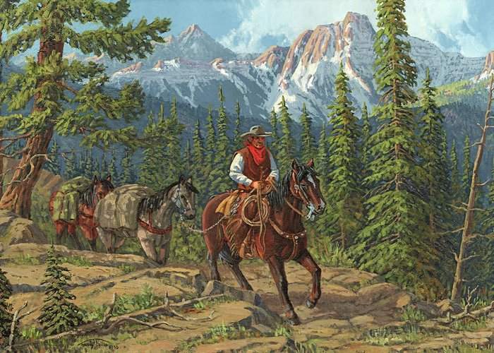 Cowboy Greeting Card featuring the painting Mountain Traveler by Randy Follis