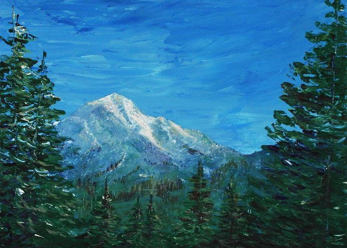 Interior Greeting Card featuring the painting Mountain View by Anastasiya Malakhova
